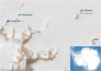 Lokality odběru sinic pro účely studie v Antarktidě. Kredit: Pushkareva et al. (2018).
