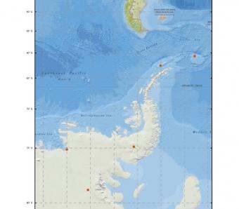 Místa odběru vzorků na území Antarktidy. Kredit: Malard et al. (2019).