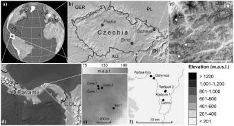 Studované lokality v České republice a v Panamě. Kredit: Weiss et al. (2019).
