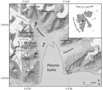 Lokality odběrů vzorků v zálivu Petunia, Špicberky. Kredit: Pushkareva et al. (2019).