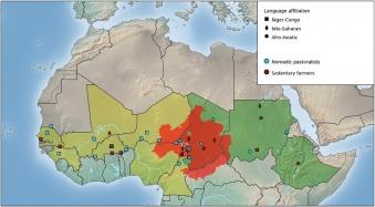 Studované populace v oblasti Sahelu. Kredit: Nováčková et al. (2020).
