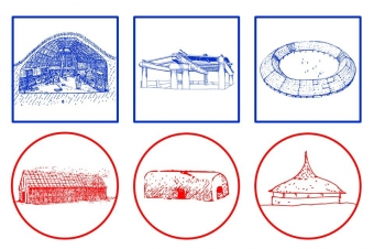 Obrázek: Příklady tradičních domů šesti preindustriálních společností Severní a Jižní Ameriky. Modře domy patrilokálních společností (zprava Aleuti, Nootkové, Yanomamové), červeně matrilokálních společností (zprava Irokézové, Tupinambové, Yekwanové).
